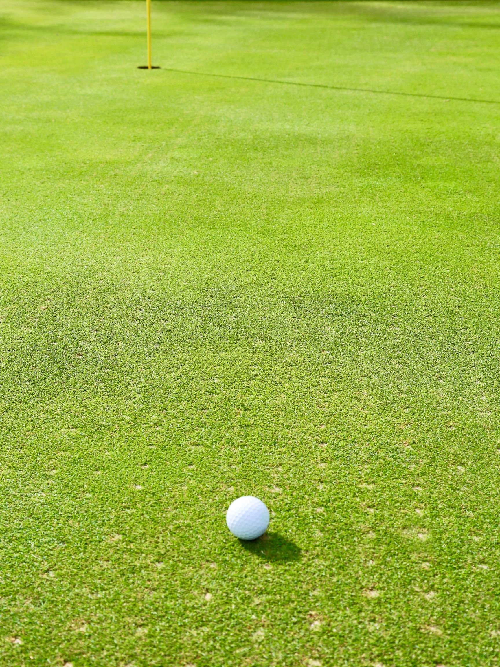 Aerating Greens with a golf ball on the ground